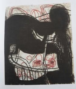 Harald Karow, Nahrungsaufnahme, Graphit, Pastellkreide, Ölfarbe auf Papier, 2014