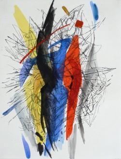 Adelheid Eichhorn: Komposition M, 2004, Radierung, koloriert, 54 cm x 40 cm
