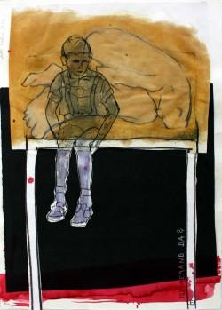 Ulli Beckers, »Ist jemand da?«, 2011, Zeichnung und Collage, 42 x 30 cm