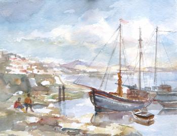 Fischerboote in Südspanien, 1980, Aquarell
