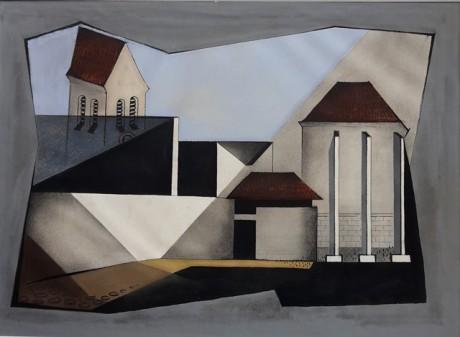 Ismaning Kirche III, Papierarbeit, Mischtechnik, 1977