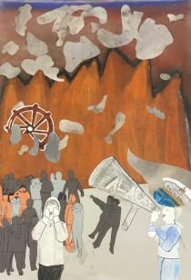 Feuer! Schnell zum Vorderdeck!, 2019, Zeichnung und Bildcollage, 100 cm x 70 cm