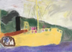 Zeit des Dämmerlichts, Zeichnung, Frottage, 70 cm x 100 cm