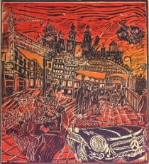 Moderne Zeiten, 2001, Linolschnitt