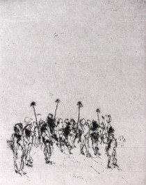 Prozession, 1981, Kaltnadelradierung