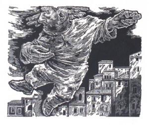 4. Unhold über der Stadt       Aus der Mappe: 10 Holzschnitte